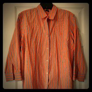 🧡Orange 3/4 Sleeve Lauren RL Shirt Size 1X🧡